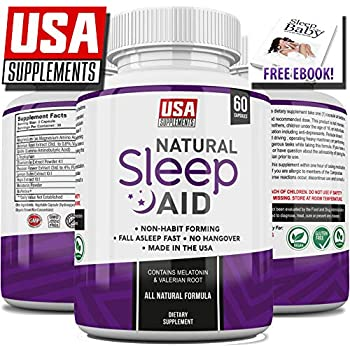 Natural Sleeping Aid Pills for Adults Extra Strength | Herbal Melatonin, Chamomile & Valerian Root Capsules | Adrenal Fatigue Support | Fast Stress, ...