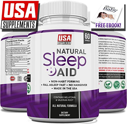 Natural Sleeping Aid Pills for Adults Extra Strength | Herbal Melatonin, Chamomile & Valerian Root Capsules | Adrenal Fatigue Support | Fast Stress, Anxiety & Insomnia Relief by USA (Best Herbal Sleeping Tablets)