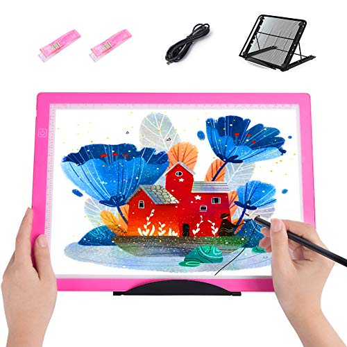 A4 Light Box Drawing Pad, MACTING Portable Ultra-Thin Adjustable Brightness Tracing Light Pad with Stand, LED Copy Board for Artists Drawing, Sketching (Pink)