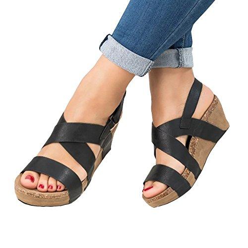 Black Casual Toe Suede Sandals Sheleau Shoes Wedge Peep Strap Cross Espadrille Velcro Womens Platform xOHT6