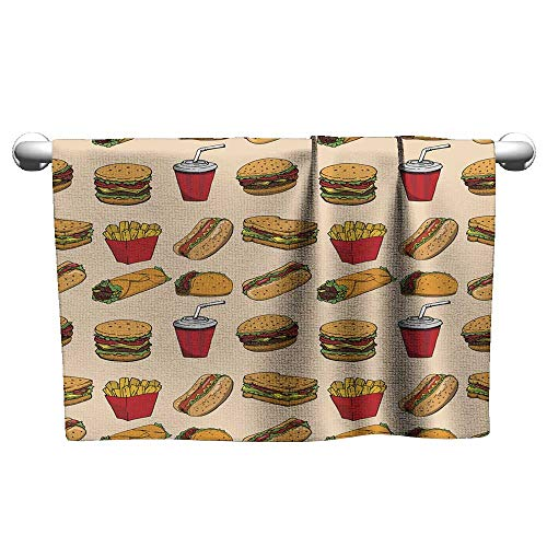 Sports Ttowel Seamless Pattern with Fast Food Hamburger hot Dog Burrito Sandwich Design Element for Poster Wrapping Paper Vector Illustration Microfiber Hair Towel Pool Towels 20 x 40 Inch ()