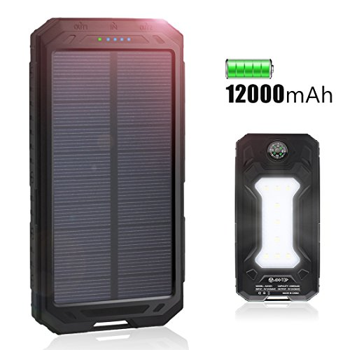 Solar Charger 12000mAh, ADDTOP Portable Power Bank Dual USB Solar Battery Charger for Cellphones, Camera, GPS, Tablets and More