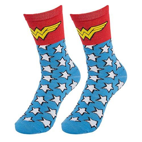 Bioworld (1 Pair) Women's Wonder Woman Crew Socks, D.C. Comic Books, Fits Ladies Shoe Size 5-10 from Bioworld