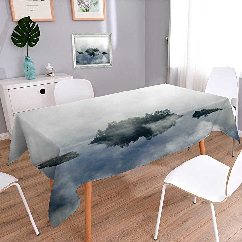 Solid Cotton Linen Tablecloth,Aerial View of Fog in Autumn Over Islands and Hills North of Portland Maine for Kitchen Dinning Tabletop Decoration