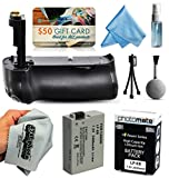 Multi Power Battery Grip + Ultra High Capacity LP-E8 LPE8 Replacement Battery (2400mAh) for Prints + Lens Cleaning Kit for Canon EOS Rebel T2i T3i T4i T5i 550D 600D 650D 700D Kiss X4 X5 X6i X7i DSLR SLR Digital Camera (BG-E8 BGE8 Replacement)