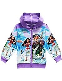 Girls Zip Hoodie Moana Sweatshirt Children Coat Cartoon...