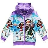 KIDHF Girls Zip Hoodie Moana Sweatshirt Children Coat Cartoon Outwear Jacket (Purple,100/3-4Y)