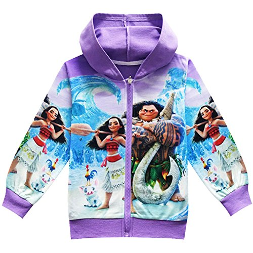 KIDHF Girls Zip Hoodie Moana Sweatshirt Children Coat Cartoon Outwear Jacket (Purple,100/3-4Y) by KIDHF