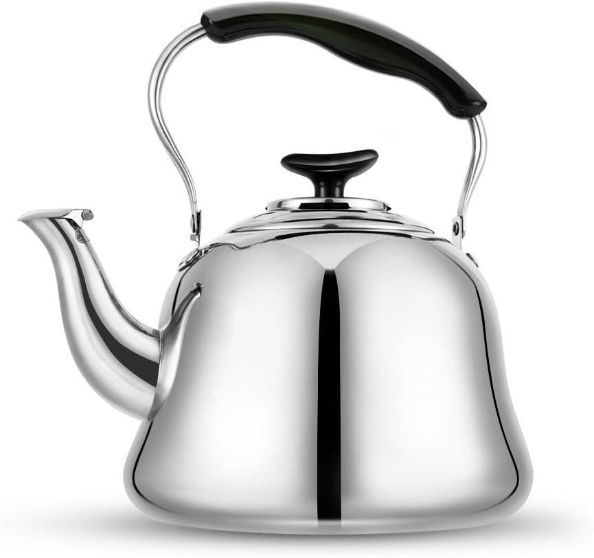 Tea Kettle Stovetop Teapot 2 Liter Stainless Steel Hot Water Kettle Whistling -Mirror Finsh,Folding Handle,Fast To Boil, Whistling Teakettles