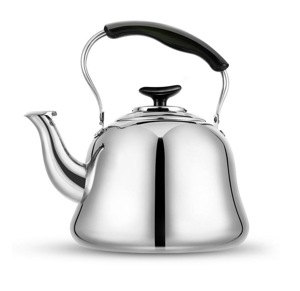 Tea Kettle Stovetop Teapot 2 Liter Stainless Steel Hot Water Kettle Whistling -Mirror Finsh,Folding Handle,Fast To Boil, Whistling Teakettles by Weftnom