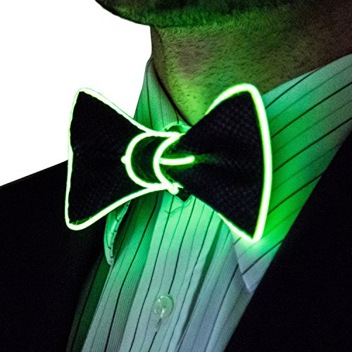 Neon Nightlife Light Up Bow Tie for Men, Green (Novelty Mens Tie Clothing)
