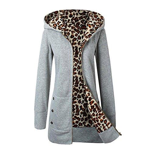 Tongshi Capa de las mujeres, además de terciopelo espesado con capucha del suéter del leopardo de la cremallera Gris