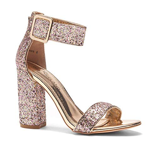 Herstyle Rumors Women's Fashion Chunky Heel Sandal Open Toe Wedding Pumps with Buckle Ankle Strap Evening Party Shoes GoldGlitter 10.0