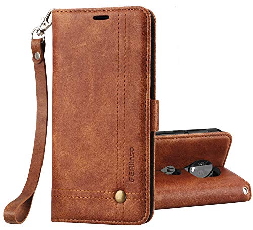 Retro Id Credit Card - Ferlinso Moto Z3 Play Case, Elegant Retro Leather with ID Credit Card Slot Holder Flip Cover Stand Magnetic Closure Case for Moto Z3 Play-Brown
