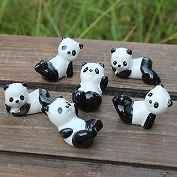 Butterme Hot Verkauf Satz von 6 Chinesische Keramik Panda-Muster St/äbchen L/öffel und Gabeln Messerhalter Rack-Praxis Einrichtungsartikel