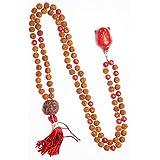 108 Coral Rudraksha Japamala Mala beads Buddha Pendant Necklace