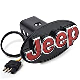tow hitch cover jeep - Jeep Hitch Cover Licensed LED Light (Running and Brake Light) Trailer Towing Hitch Receiver Plug 2 inch and 1 1/4 inch Both Size Chrome 6513