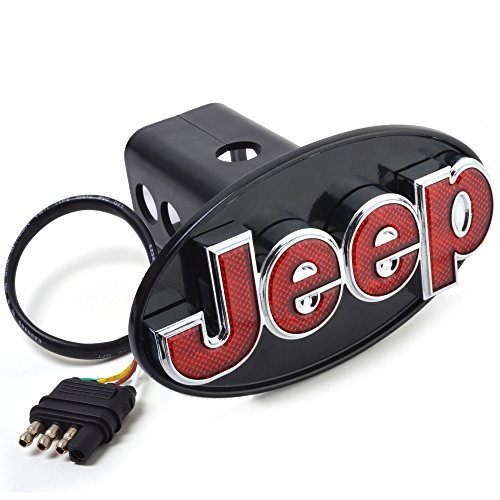 Jeep Hitch Cover Licensed LED Light (Running and Brake Light) Trailer Towing Hitch Receiver Plug 2 inch and 1 1/4 inch Both Size Chrome 6513