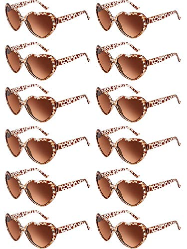 Blulu 12 Pieces Neon Colors Heart Shape Sunglasses for Women Party Favors and Festival (Leopard)