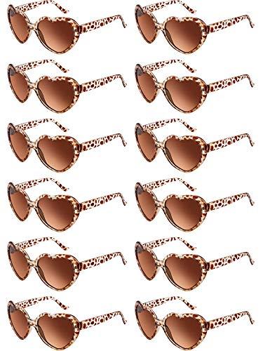Blulu 12 Pieces Neon Colors Heart Shape Sunglasses for Women Party Favors and Festival (Leopard)