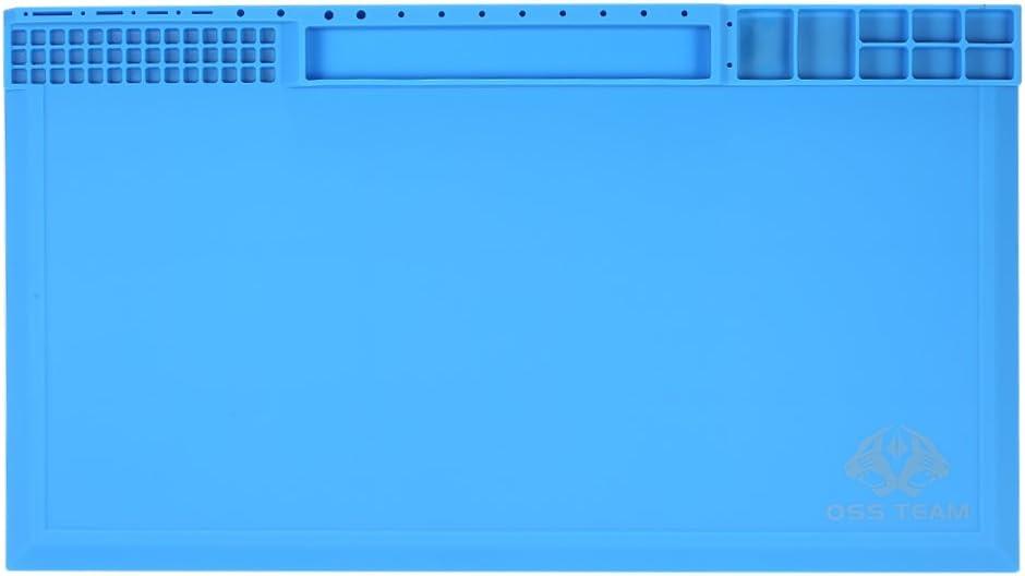 Tappetino per Saldatura,Tappeto da Lavoro in Silicone per Isolamento Termico da 380 210mm per BGA Stazione di Saldatura per Manutenzione ad Alta Temperatura con Tacche a Vite
