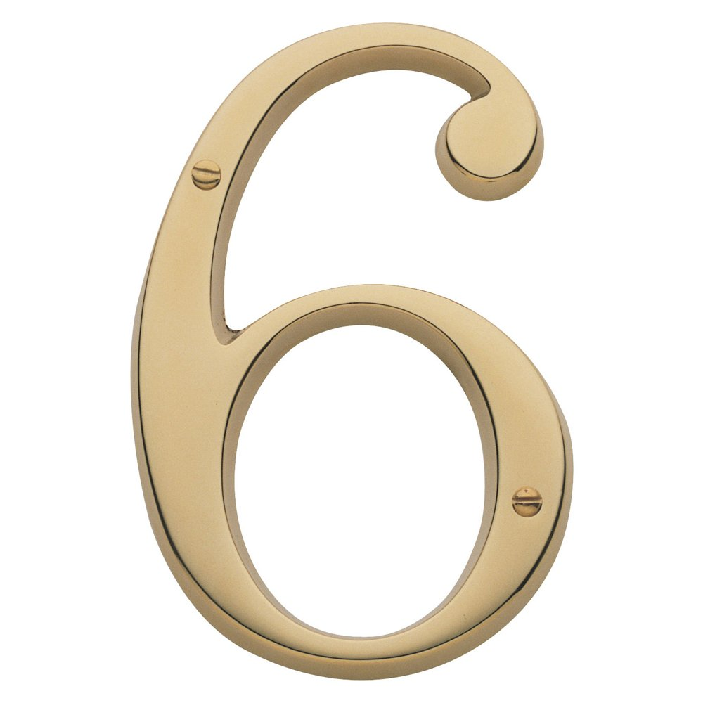 Baldwin Estate 90676.003.CD Solid Brass Traditional House Number Six in Polished Brass, 4.75''