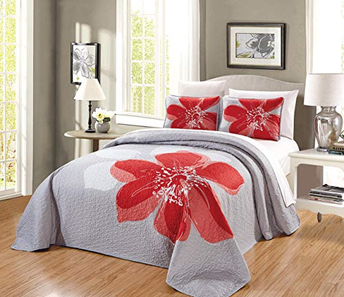 3-Piece Fine Printed (90″ X 88″) Quilt Set Reversible Bedspread Coverlet (Double) Full Size Bed Cover (Coral Orange, Grey, White Hibiscus Floral)