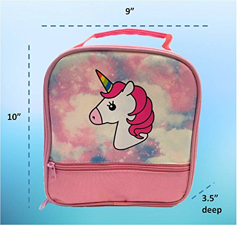 Unicorn Lunch-Box for Girls. Pink Lunch Bag Rainbow Horn. Large School Lunch-Boxes Kids. Cute Tote. Insulated. BPA Free. 5