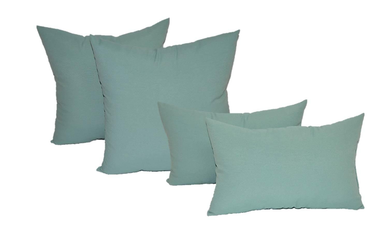 Set of 4 Indoor / Outdoor Pillows - 20'' Solid Aqua / Spa Square Throw Pillows & Rectangle / Lumbar Decorative Throw Pillows