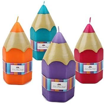 4 Stuck Kerzen 58 Std Brenndauer Stift Dekoration Einschulung