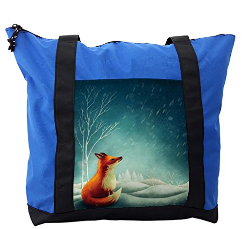 Lunarable Forest Shoulder Bag, Little Fox Looking at Sky, Durable with Zipper by Lunarable