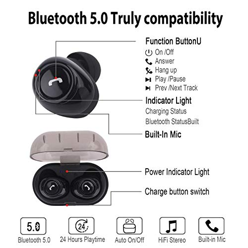 DamaGood Wireless Earbuds Earphones TWS Bluetooth 5.0 with Charging Case Noise Reduction Bass Stereo Sound and Build-in Mic