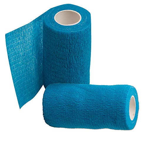 SLSON 2 Pack Vet Wrap for Horses 4 inch Self Adhesive Bandage Tape for Dogs Cats and Other Pets Waterproof Bandaging Tape,Blue