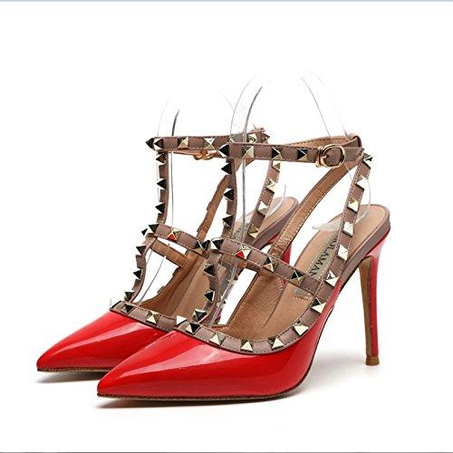 verano Fina de de Zapatos alto de Big tacón de de mujer roja club Sandalias Zapatos Remache nocturno alto tacón VIVIOO alto Zapatos tacón correa del con red tacón Zapatos de 8cm alto zqxTaZwa