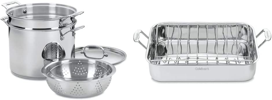 Cuisinart 77-412 Chef's Classic Stainless 4-Piece 12-Quart Pasta/Steamer Set,Stainless Steel & Chef's Classic Stainless 16-Inch Rectangular Roaster with Rack, Roaster Rack