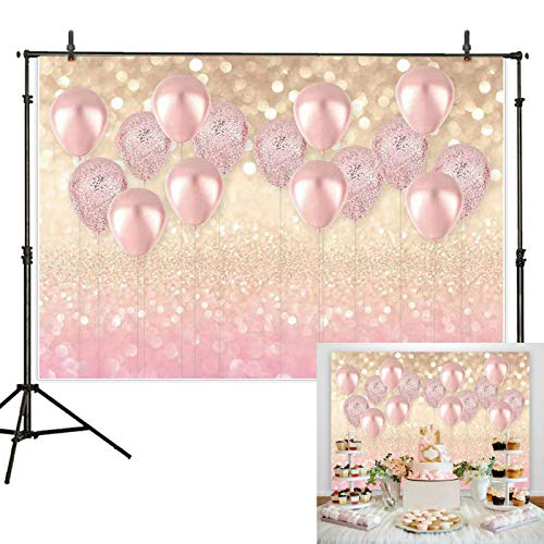 (7x5ft Durable/Soft Fabric Rose Gold Party Decorations Pink Balloon Gold Glittter Bokeh Photo Backdrop for Birthday Baby Bridal Shower Bachelorette Party Supplies Photography Background Studio Props)