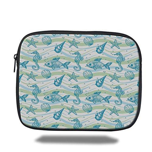iPad Bag,Nautical,Marine Ocean Shell Starfish Oyster Mollusk Sea Horse Underwater Aquatic Pattern,Mint Blue,3D ()