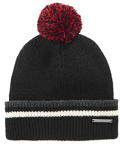 Sean John Mens Stripe Pom Pom Beanie Hat Black One Size