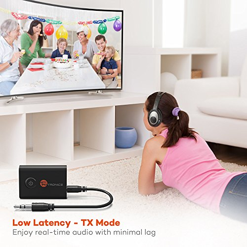 Large Product Image of TaoTronics Bluetooth 5.0 Transmitter and Receiver, 2-in-1 Wireless 3.5mm Adapter (aptX Low Latency, 2 Devices Simultaneously, For TV/Home Sound System)