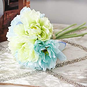 keebgyy Artificial Rosemary Bouquet, Real Looking Hydrangea DIY Wedding Bridal Bouquet 1 Bundle of 7 Sticks, for Wedding Party Home Decoration(Blue) 78