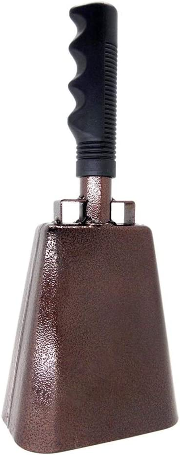 10 in. steel cowbell/Noise makers with handles. Cheering Glocke for sporting, football games, events. groß solid school hand bells. Cowbells. Percussion Musical Instrument. Kuh Glocke Alarm (Copper)