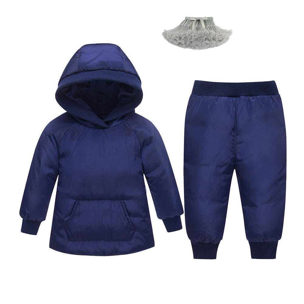 M/&A Baby Girls Boys Winter Hooded Down Coat Puffer Jacket and Bib Pants 2Pcs Set
