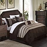 Chic Home Torino Pleated Piecing Luxury Bedding Collection 7-Piece Comforter Set, Queen, Taupe