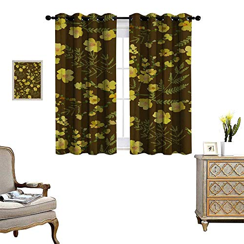 Suchashome Drapes Panels Floral Seamless Pattern with Different Flowers and Leaves Botanical Illustration Hand Painted Textile Print Fabric Swatch Wrapping Paper Drapes W63 x ()