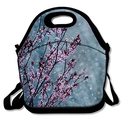 (Reusable Lunch Bags Snow Sakura Insulated Waterproof Lunch Box for Women Kids)