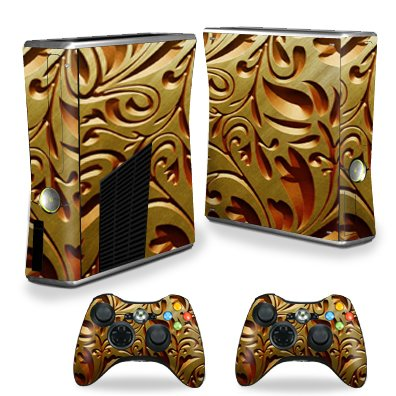 MightySkins Skin Compatible with X-Box 360 Xbox 360 S Console - Mosaic Gold | Protective, Durable, and Unique Vinyl Decal wrap Cover | Easy to Apply, Remove, and Change Styles | Made in The USA ()
