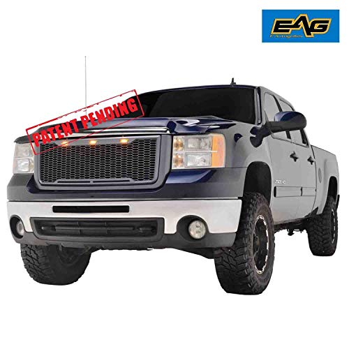 (EAG Replacement Upper Grille Front Mesh Grill W/LED Lights - Charcoal Gray Fit for 07-10 GMC Sierra 2500/3500 Heavy Duty)