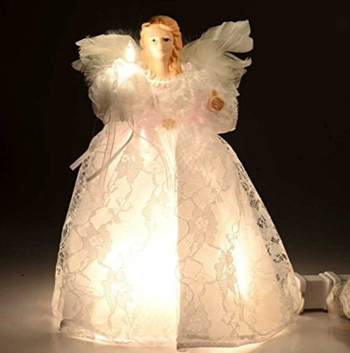 Kurt Adler 10-Light 9-Inch White Angel Treetop