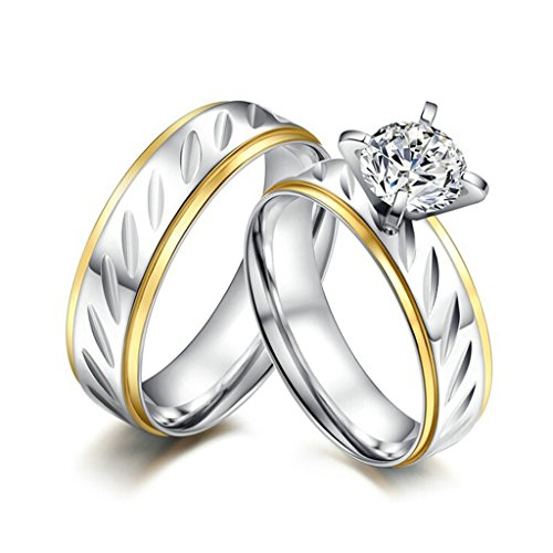 [AnaZoz Stainless Steel Couple Rings With Names Women Size 9 & Men Size 11] (Paper Bag Princess Couples Costume)