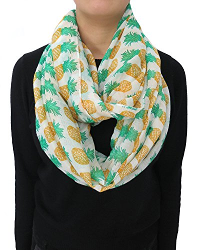 Lina & Lily Pineapple Print Women's Infinity Loop Scarf Large Size Lightweight (White)